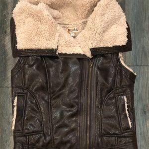 NWT Mudd Brown Zip Faux Fur Moto Vest~Sz M